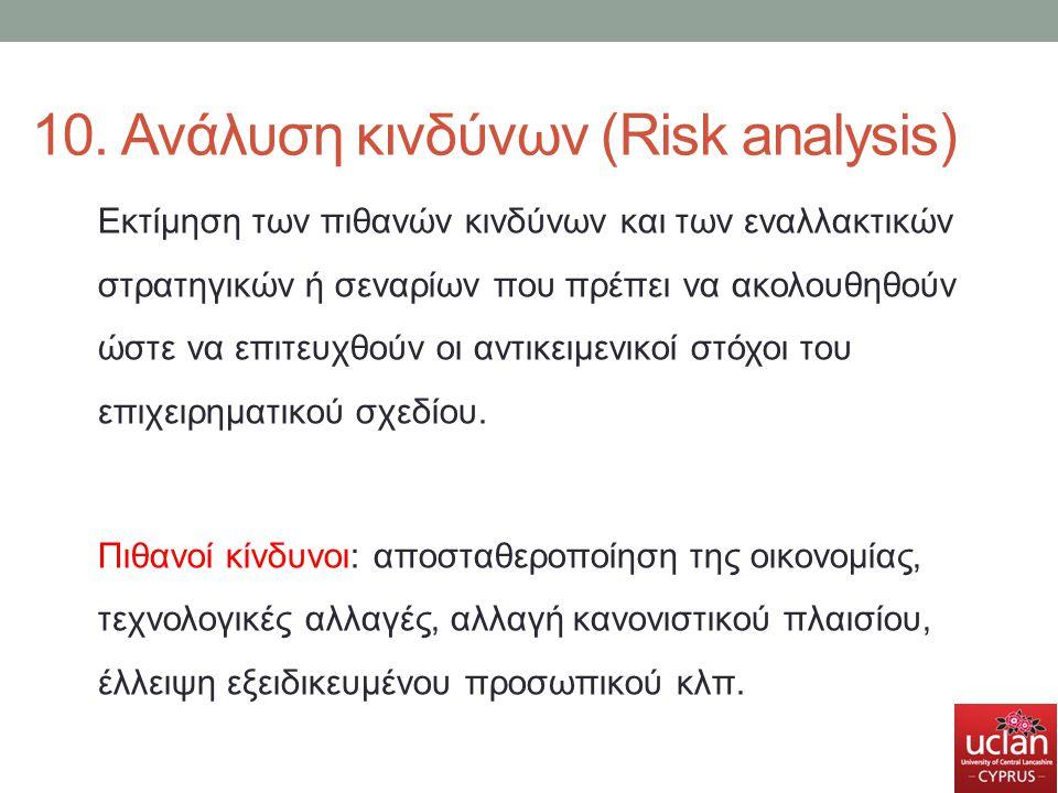 10. Ανάλυση κινδύνων (Risk analysis)