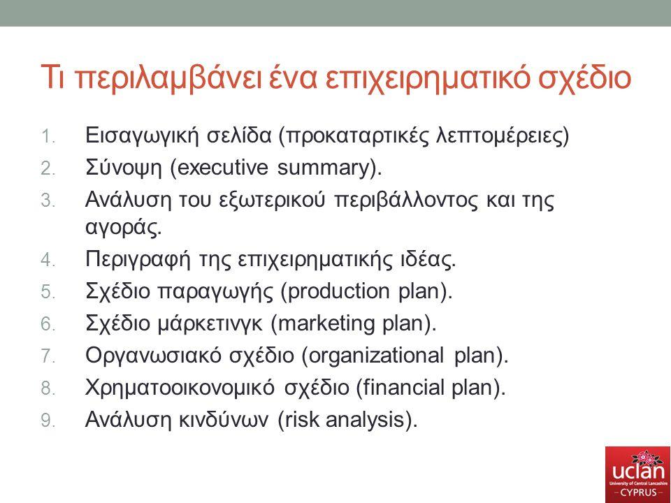 Τι περιλαμβάνει ένα επιχειρηματικό σχέδιο