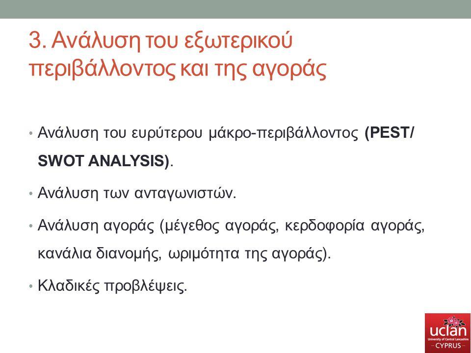 3. Ανάλυση του εξωτερικού περιβάλλοντος και της αγοράς