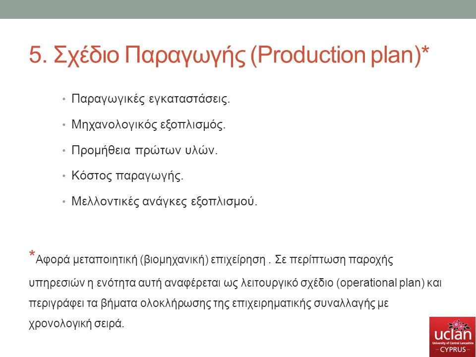 5. Σχέδιο Παραγωγής (Production plan)*