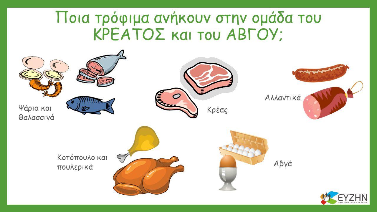 Ποια τρόφιμα ανήκουν στην ομάδα του ΚΡΕΑΤΟΣ και του ΑΒΓΟΥ;
