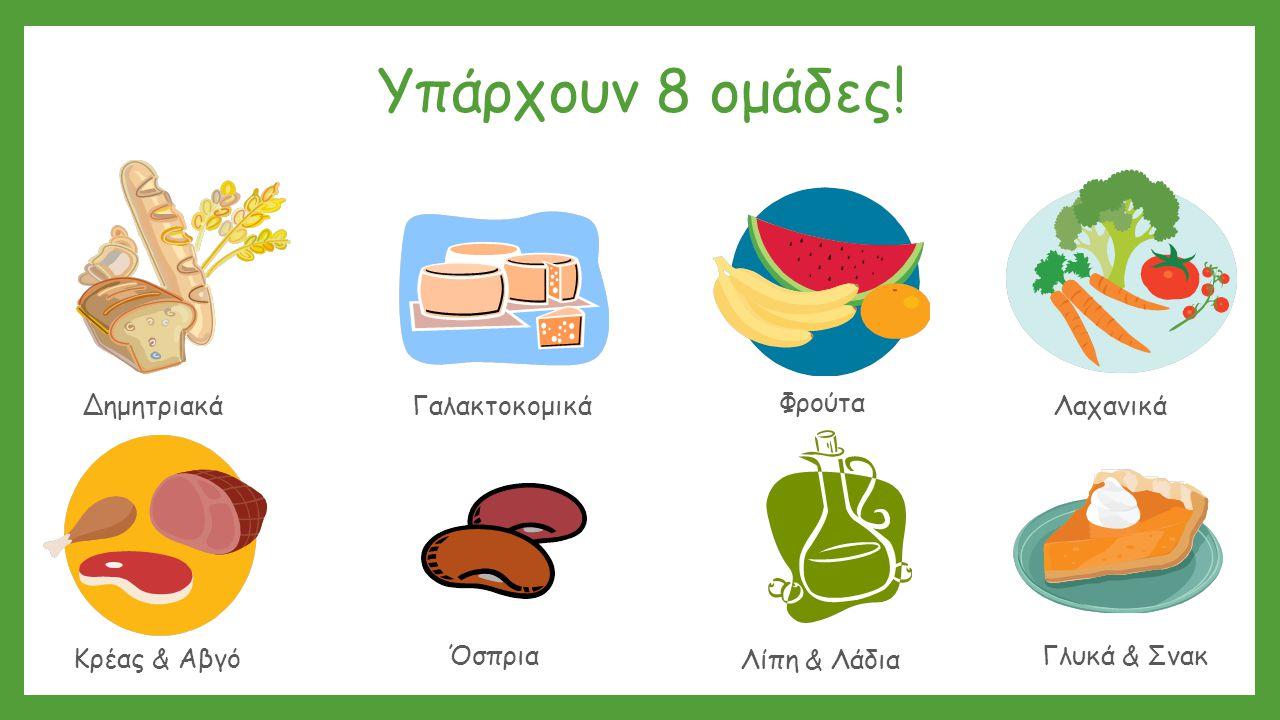 Υπάρχουν 8 ομάδες! Δημητριακά Γαλακτοκομικά Φρούτα Λαχανικά