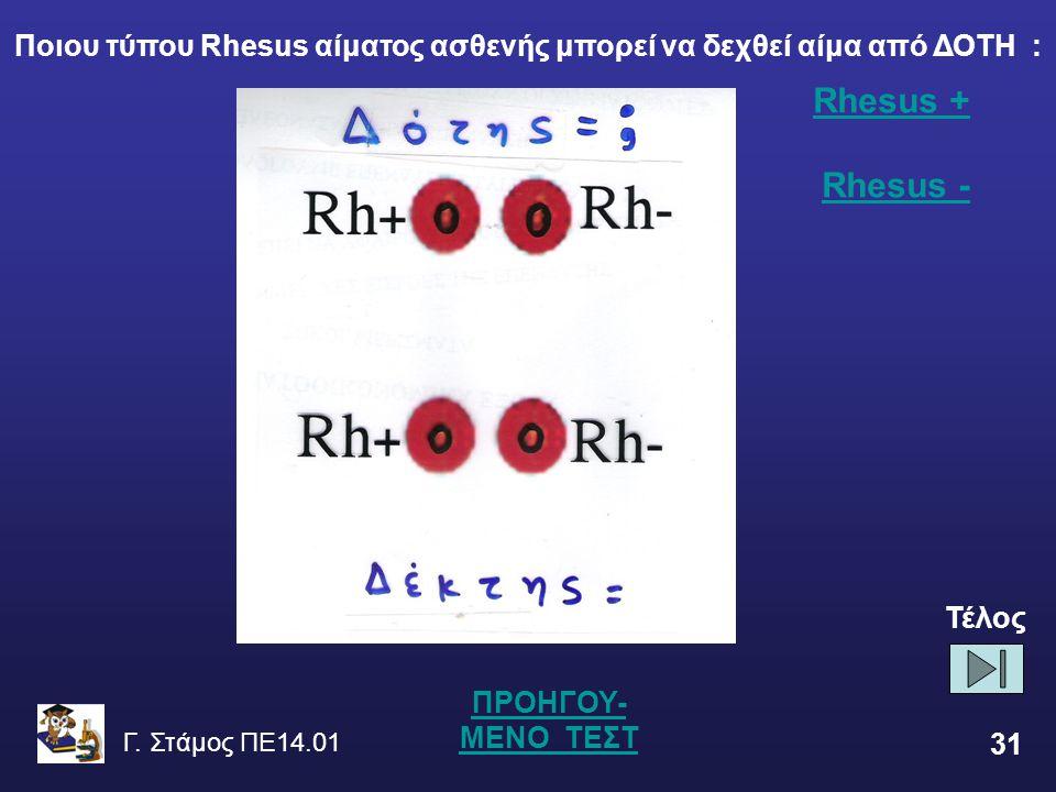 Ποιου τύπου Rhesus αίματος ασθενής μπορεί να δεχθεί αίμα από ΔΟΤΗ :