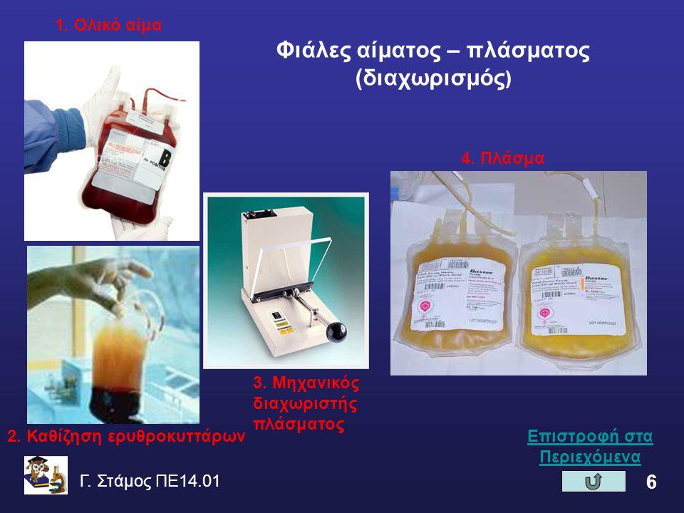 Φιάλες αίματος – πλάσματος (διαχωρισμός)