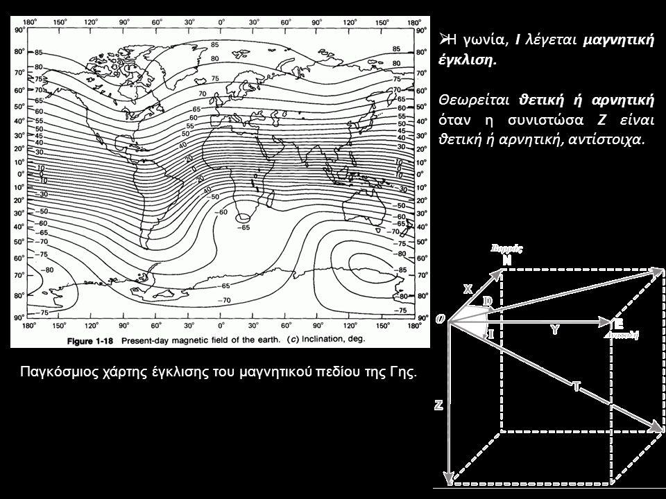 Παγκόσμιος χάρτης έγκλισης του μαγνητικού πεδίου της Γης.
