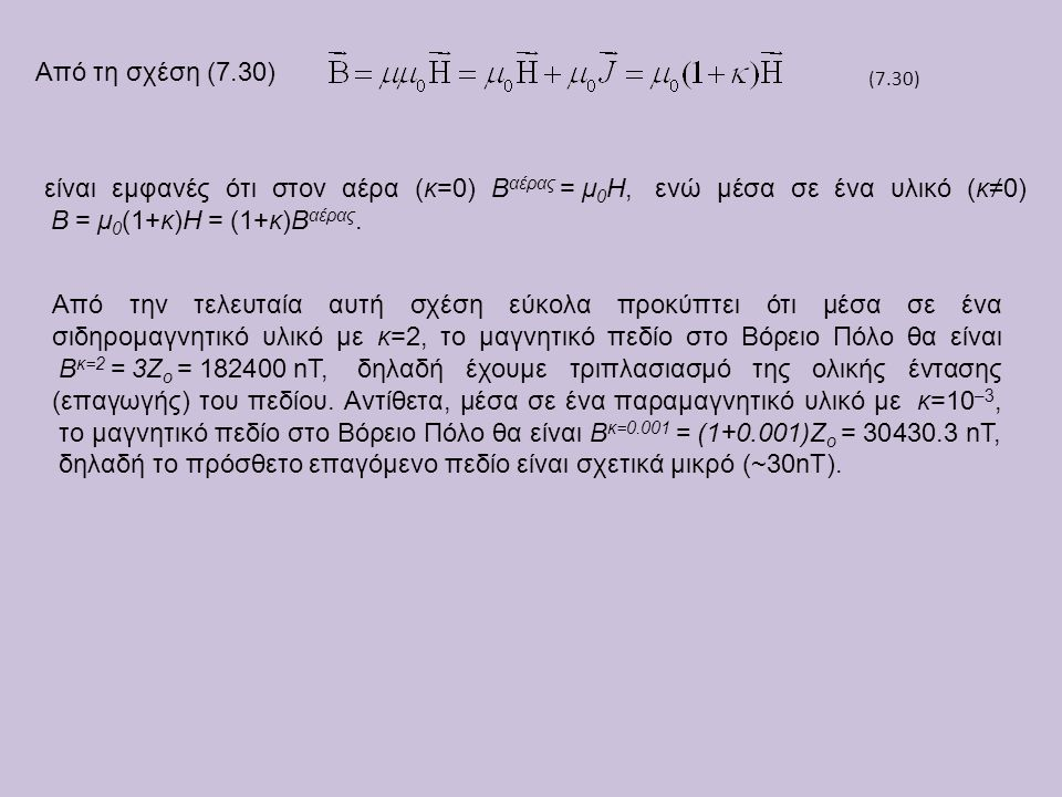 Από τη σχέση (7.30) (7.30) είναι εμφανές ότι στον αέρα (κ=0) Βαέρας = μ0Η, ενώ μέσα σε ένα υλικό (κ≠0) Β = μ0(1+κ)Η = (1+κ)Βαέρας.