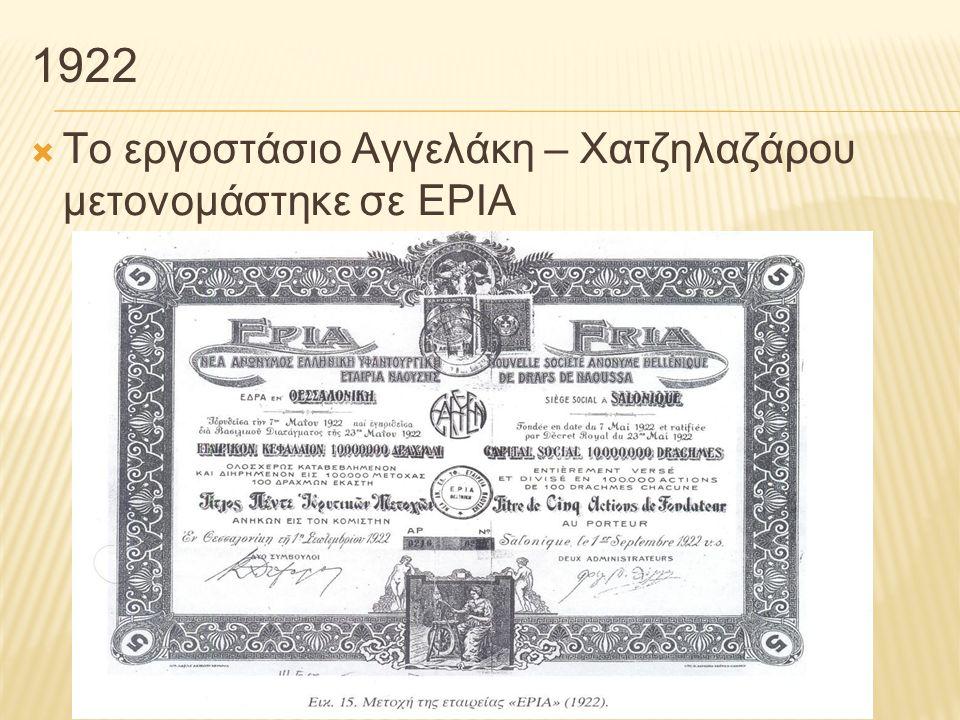 1922 Το εργοστάσιο Αγγελάκη – Χατζηλαζάρου μετονομάστηκε σε ΕΡΙΑ