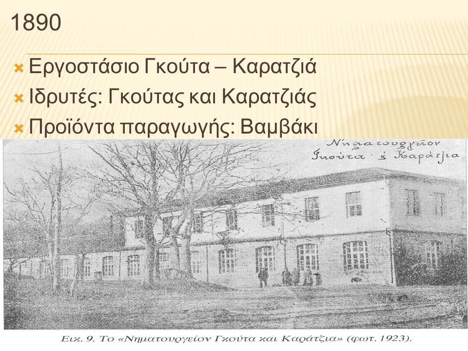 1890 Εργοστάσιο Γκούτα – Καρατζιά Ιδρυτές: Γκούτας και Καρατζιάς
