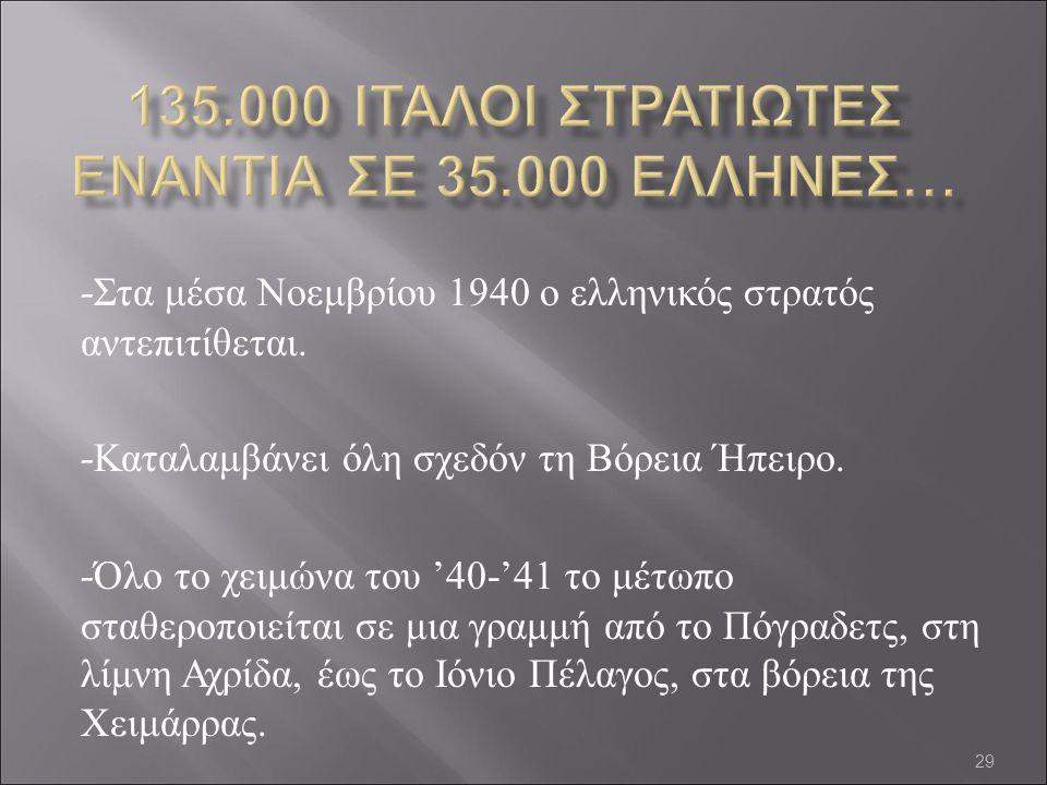 135.000 ΙΤΑΛΟΙ ΣΤΡΑΤΙΩΤΕΣ ΕΝΑΝΤΙΑ ΣΕ 35.000 ΕΛΛΗΝΕΣ…