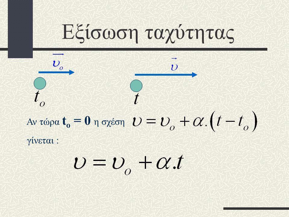 Εξίσωση ταχύτητας Αν τώρα to = 0 η σχέση γίνεται :