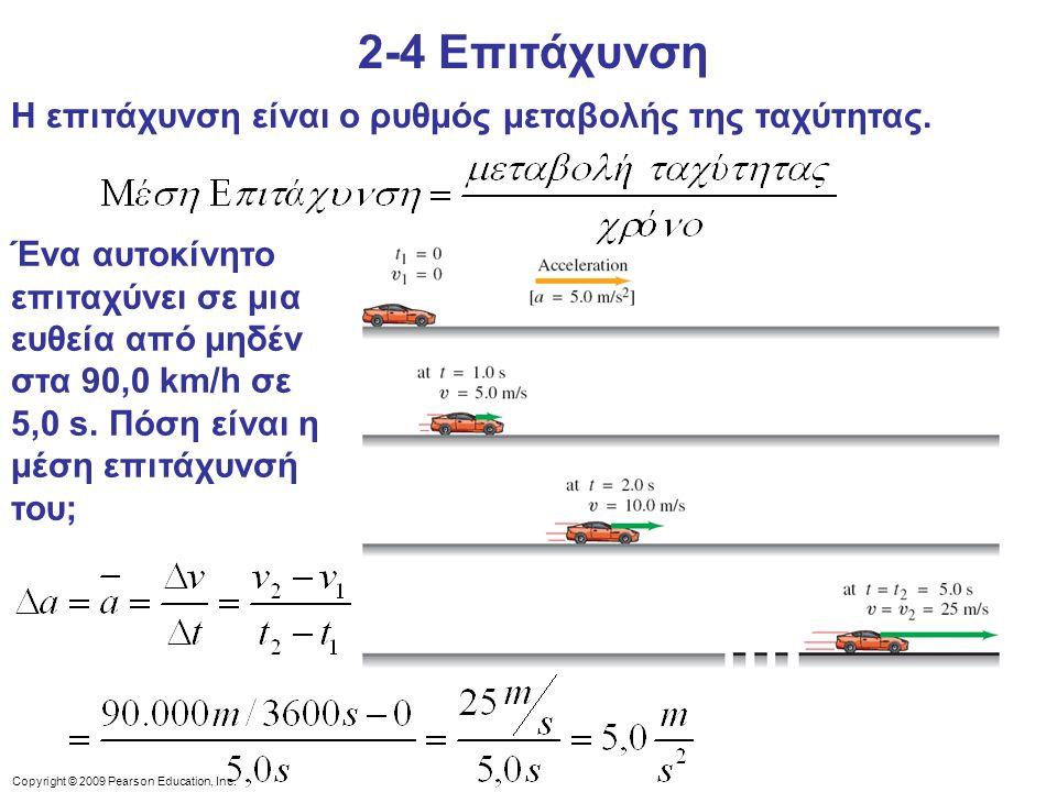 2-4 Επιτάχυνση Η επιτάχυνση είναι ο ρυθμός μεταβολής της ταχύτητας.