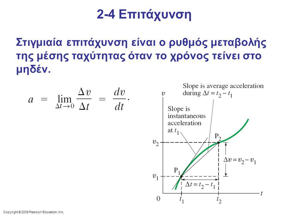 2-4 Επιτάχυνση Στιγμιαία επιτάχυνση είναι ο ρυθμός μεταβολής της μέσης ταχύτητας όταν το χρόνος τείνει στο μηδέν.