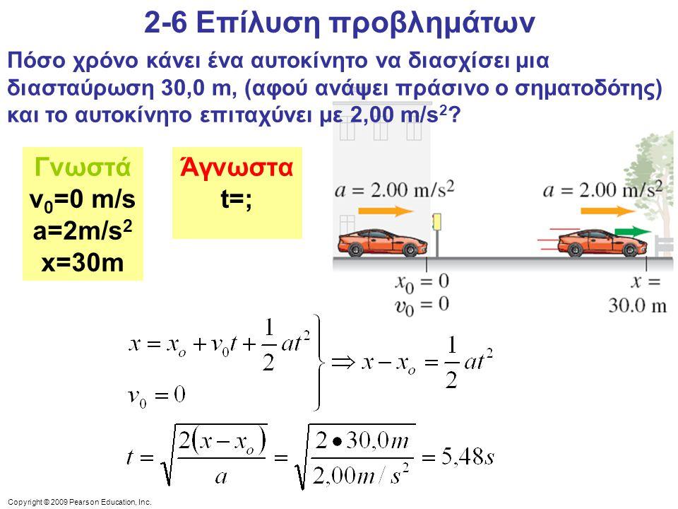 2-6 Επίλυση προβλημάτων Γνωστά v0=0 m/s a=2m/s2 x=30m Άγνωστα t=;
