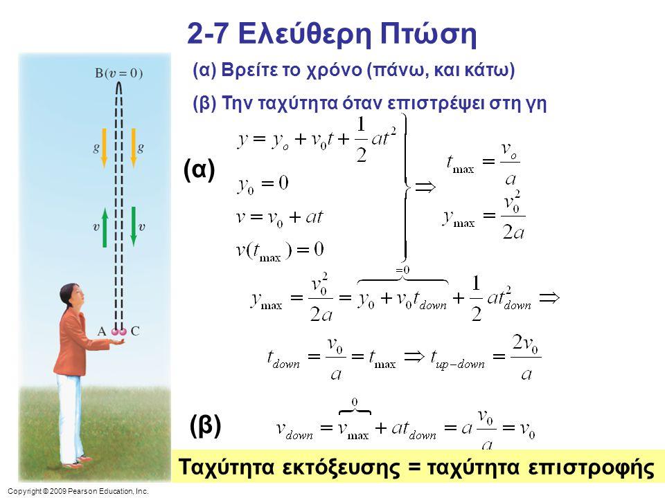 2-7 Ελεύθερη Πτώση (α) (β) Ταχύτητα εκτόξευσης = ταχύτητα επιστροφής