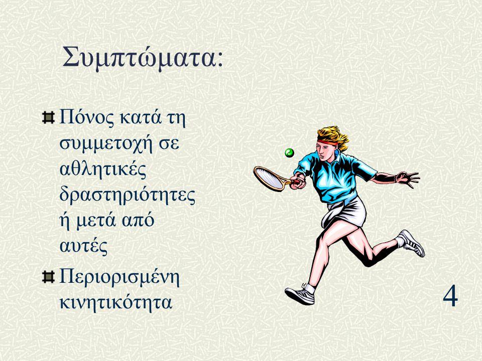 Συμπτώματα: Πόνος κατά τη συμμετοχή σε αθλητικές δραστηριότητες ή μετά από αυτές. Περιορισμένη κινητικότητα.