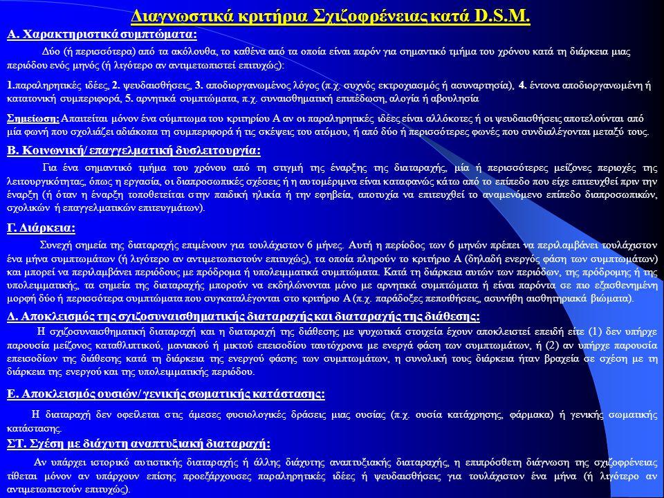 Διαγνωστικά κριτήρια Σχιζοφρένειας κατά D.S.M.