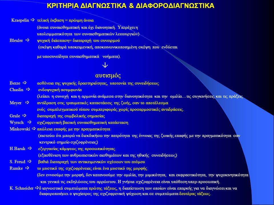 ΚΡΙΤΗΡΙΑ ΔΙΑΓΝΩΣΤΙΚΑ & ΔΙΑΦΟΡΟΔΙΑΓΝΩΣΤΙΚΑ
