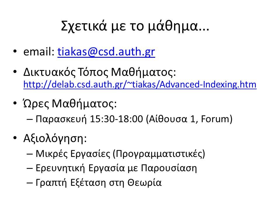 Σχετικά με το μάθημα... email: tiakas@csd.auth.gr. Δικτυακός Τόπος Μαθήματος: http://delab.csd.auth.gr/~tiakas/Advanced-Indexing.htm.