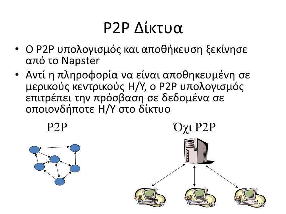 P2P Δίκτυα O P2P υπολογισμός και αποθήκευση ξεκίνησε από το Napster.