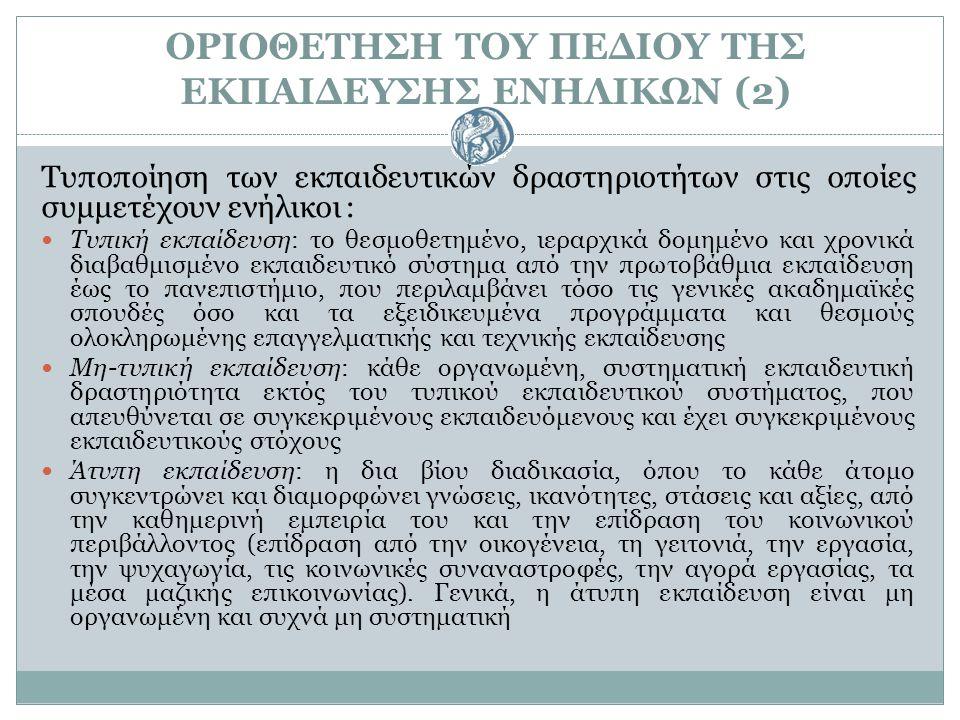 ΟΡΙΟΘΕΤΗΣΗ ΤΟΥ ΠΕΔΙΟΥ ΤΗΣ ΕΚΠΑΙΔΕΥΣΗΣ ΕΝΗΛΙΚΩΝ (2)