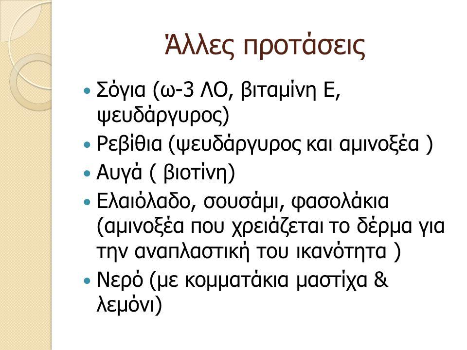 Άλλες προτάσεις Σόγια (ω-3 ΛΟ, βιταμίνη Ε, ψευδάργυρος)