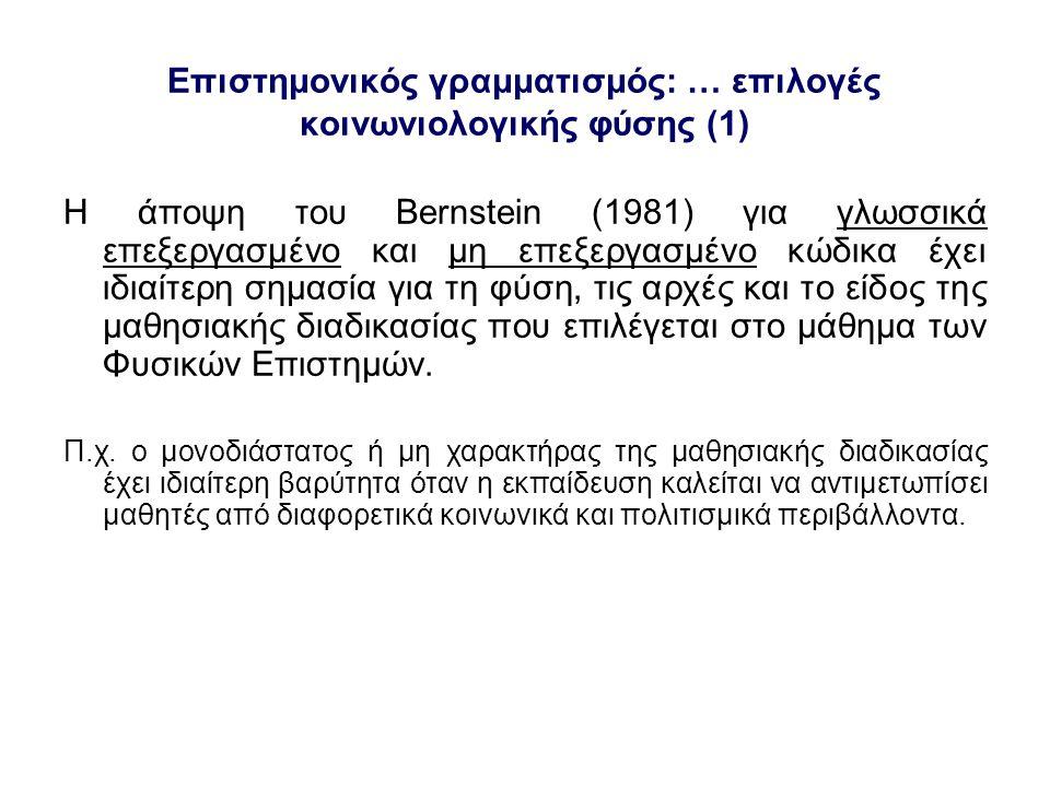 Επιστημονικός γραμματισμός: … επιλογές κοινωνιολογικής φύσης (1)
