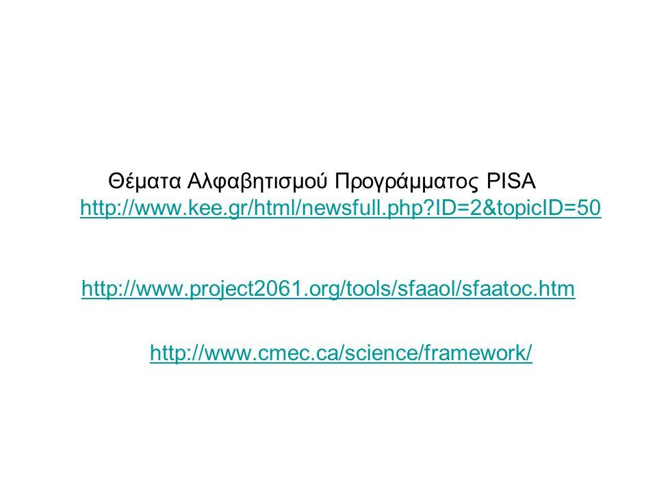 Θέματα Αλφαβητισμού Προγράμματος PISA http://www.kee.gr/html/newsfull.php ID=2&topicID=50