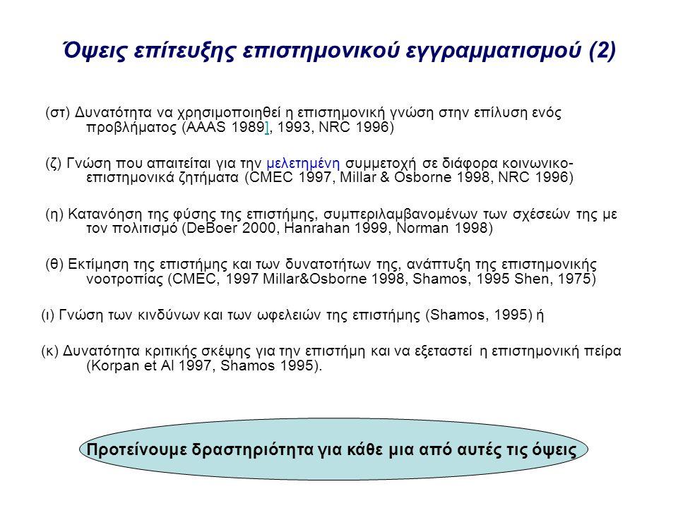 Όψεις επίτευξης επιστημονικού εγγραμματισμού (2)