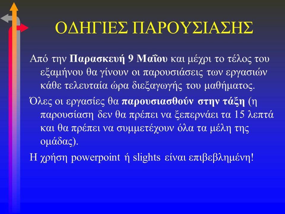 ΟΔΗΓΙΕΣ ΠΑΡΟΥΣΙΑΣΗΣ