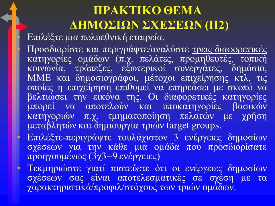 ΠΡΑΚΤΙΚΟ ΘΕΜΑ ΔΗΜΟΣΙΩΝ ΣΧΕΣΕΩΝ (Π2)