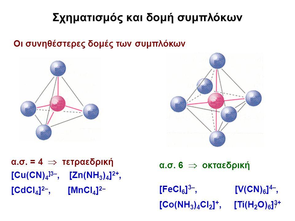Σχηματισμός και δομή συμπλόκων