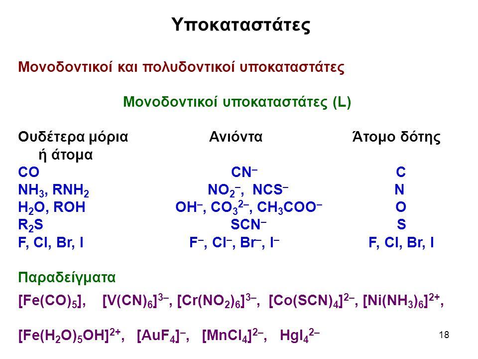 Μονοδοντικοί υποκαταστάτες (L)