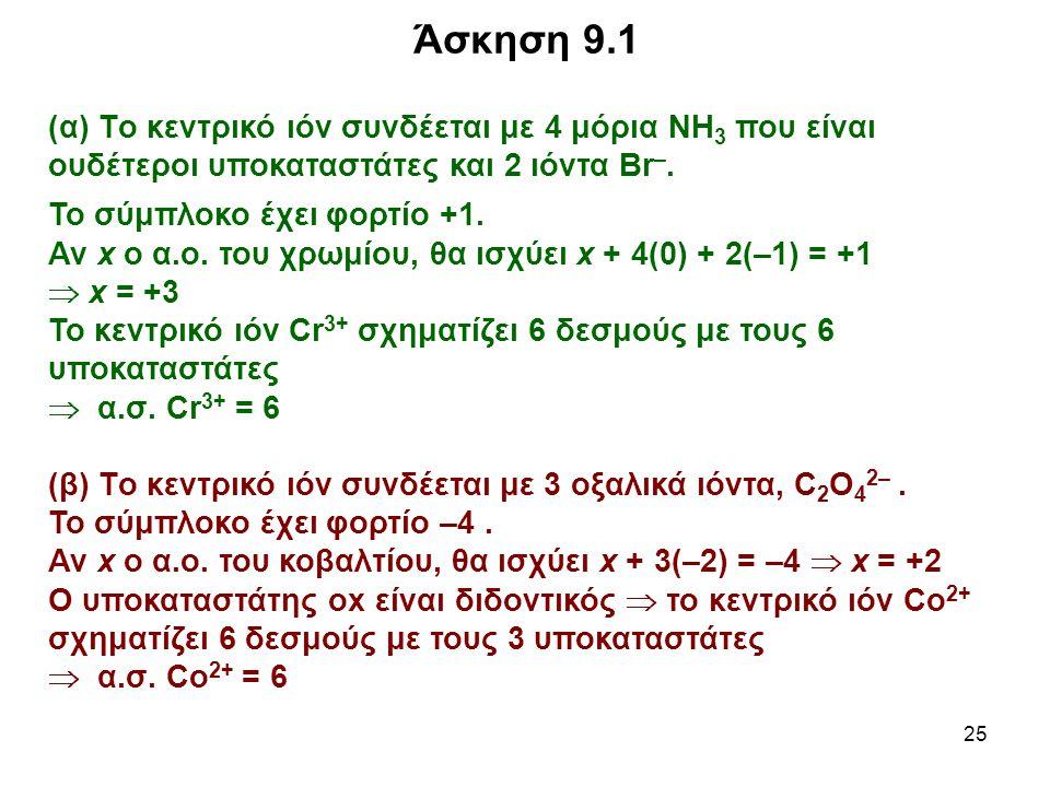 Άσκηση 9.1 (α) Tο κεντρικό ιόν συνδέεται με 4 μόρια ΝΗ3 που είναι ουδέτεροι υποκαταστάτες και 2 ιόντα Br–.