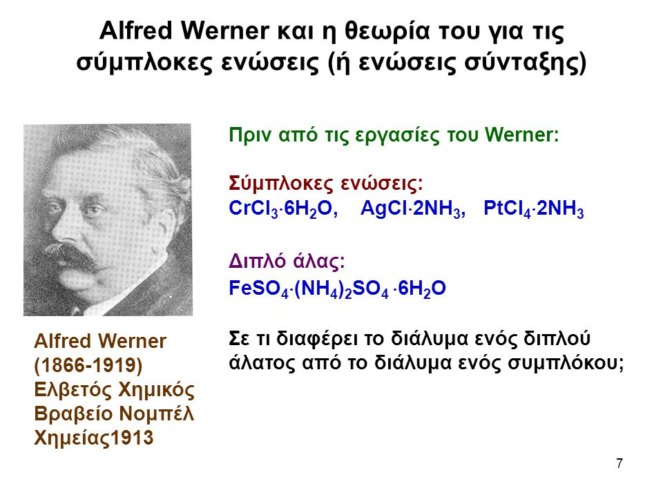 Alfred Werner και η θεωρία του για τις σύμπλοκες ενώσεις (ή ενώσεις σύνταξης)