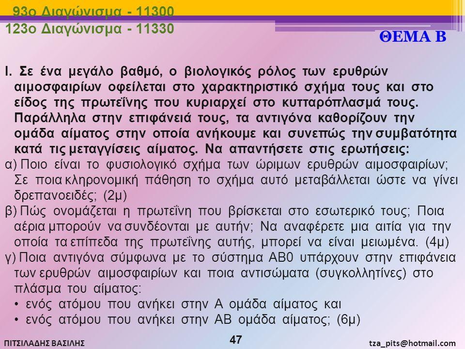 ΘΕΜΑ Β 93o Διαγώνισμα - 11300 123o Διαγώνισμα - 11330
