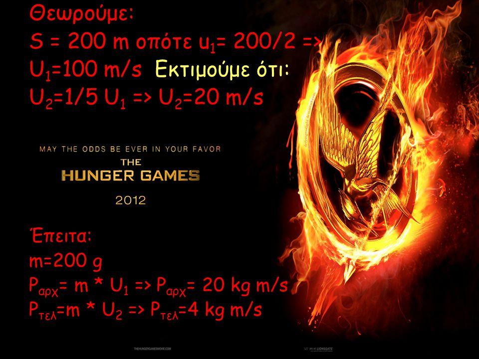 Θεωρούμε: S = 200 m οπότε u1= 200/2 => U1=100 m/s Εκτιμούμε ότι: