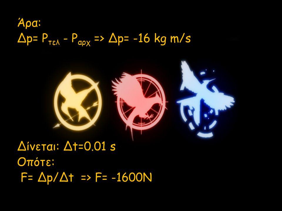 Άρα: Δp= Pτελ - Pαρχ => Δp= -16 kg m/s Δίνεται: Δt=0