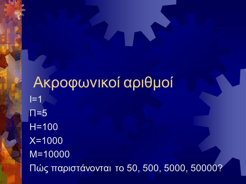 Ακροφωνικοί αριθμοί Ι=1 Π=5 Η=100 Χ=1000 Μ=10000