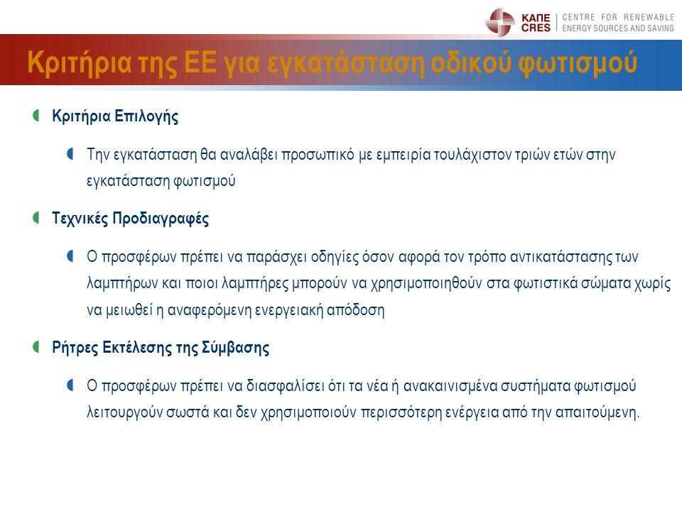 Κριτήρια της ΕΕ για εγκατάσταση οδικού φωτισμού