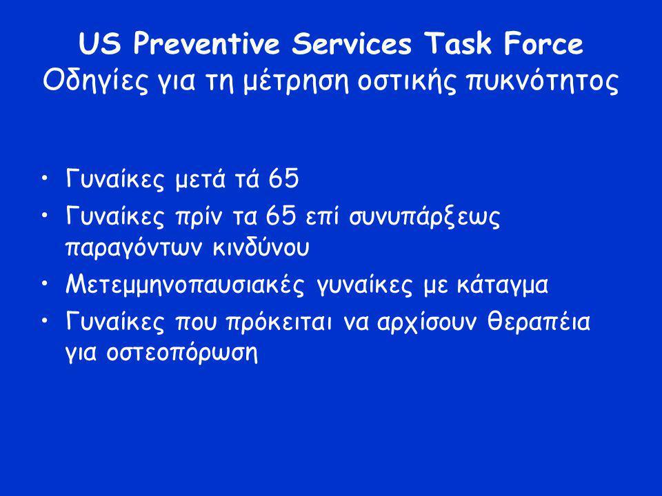 US Preventive Services Task Force Οδηγίες για τη μέτρηση οστικής πυκνότητος