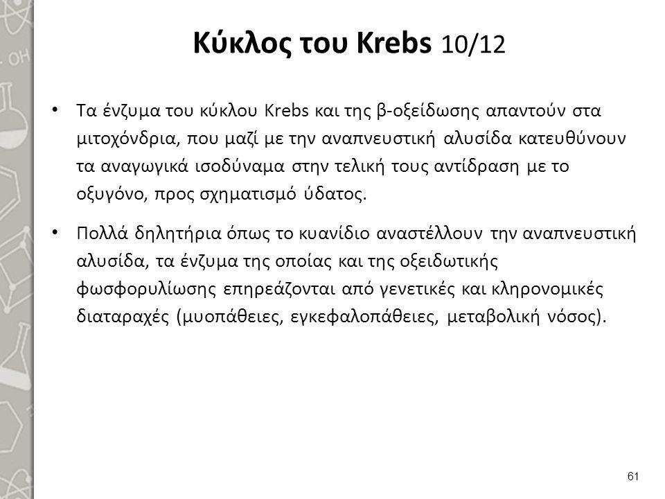 Κύκλος του Krebs 11/12 ΟΞΕΙΔΩΣΗ. ΠΡΟΣ. ΑΚΕΤΥΛΟ-CoA. 14 ATP. ΠΥΡΟΣΤΑΦΥΛΙΚΟ. 8 ATP. γλυκόζη. 6-P-γλυκόζη.
