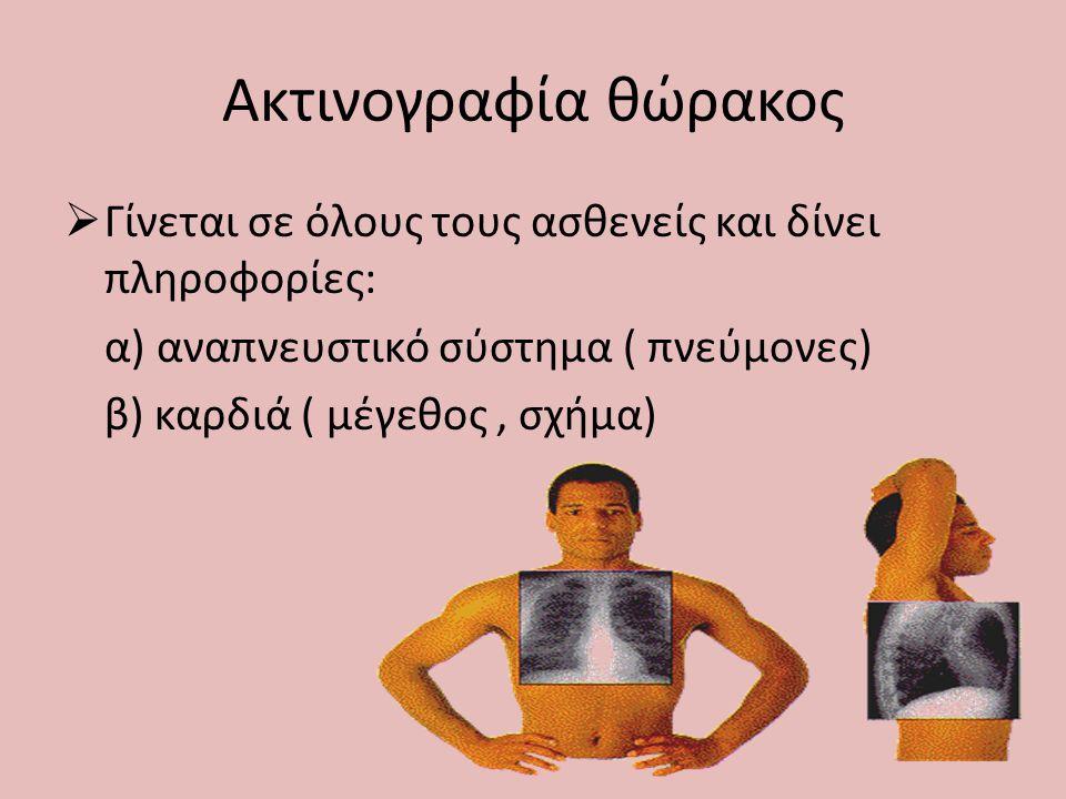 Ακτινογραφία θώρακος Γίνεται σε όλους τους ασθενείς και δίνει πληροφορίες: α) αναπνευστικό σύστημα ( πνεύμονες)