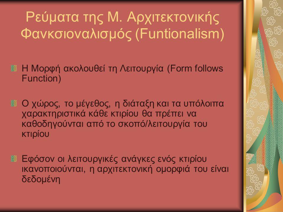 Ρεύματα της Μ. Αρχιτεκτονικής Φανκσιοναλισμός (Funtionalism)