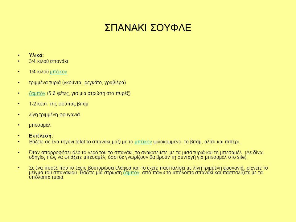 ΣΠΑΝΑΚΙ ΣΟΥΦΛΕ Υλικά: 3/4 κιλού σπανάκι 1/4 κιλού μπέικον
