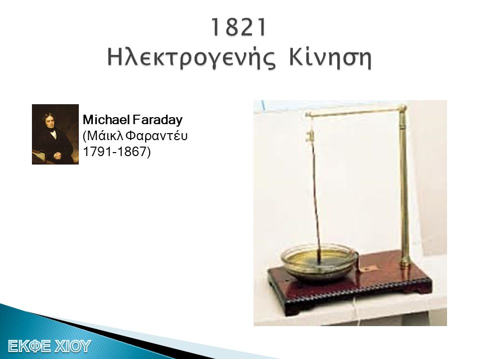 1821 Ηλεκτρογενής Κίνηση Michael Faraday (Μάικλ Φαραντέυ 1791-1867)