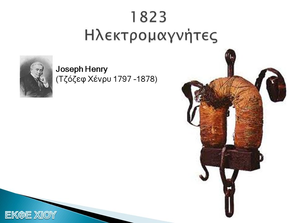1823 Ηλεκτρομαγνήτες Joseph Henry (Τζόζεφ Χένρυ 1797 –1878)