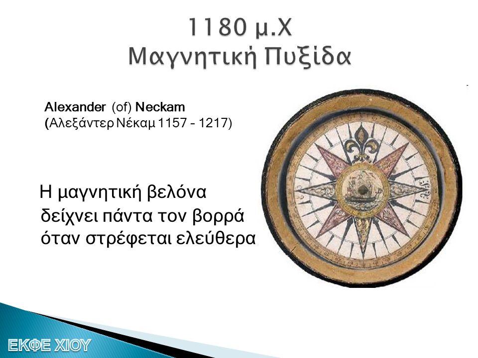 1180 μ.Χ Μαγνητική Πυξίδα Alexander (of) Neckam (Αλεξάντερ Νέκαμ 1157 – 1217)