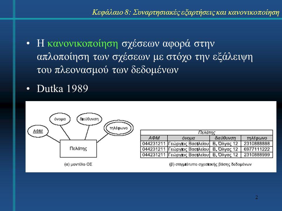 Κεφάλαιο 8: Συναρτησιακές εξαρτήσεις και κανονικοποίηση