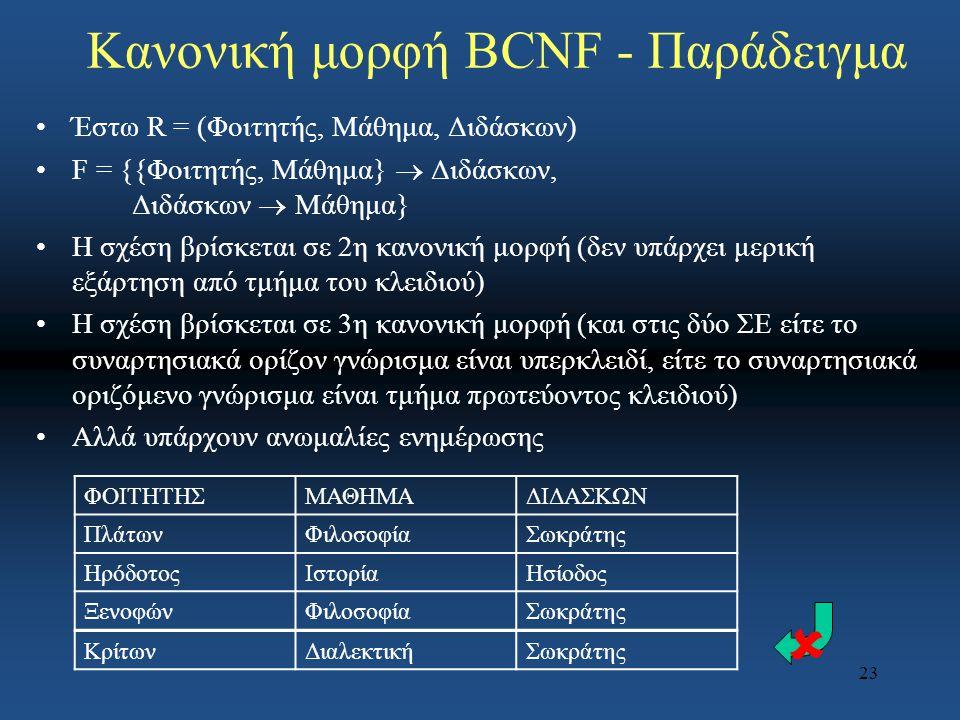 Κανονική μορφή BCNF - Παράδειγμα
