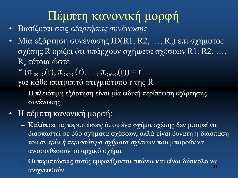 Πέμπτη κανονική μορφή Βασίζεται στις εξαρτήσεις συνένωσης